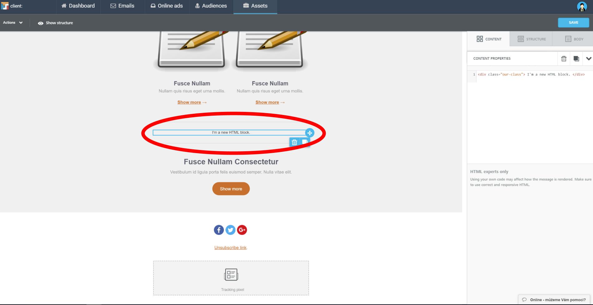editor html button